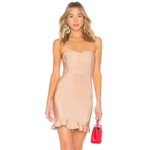 By the way Gemma Ruffle Bandage Dress Small Nude